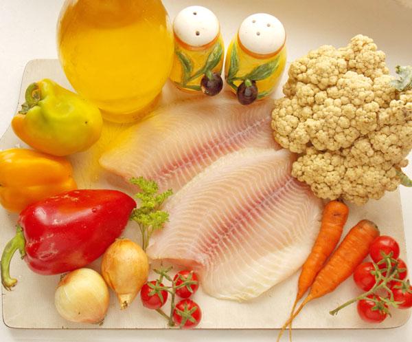 Рыба, овощи